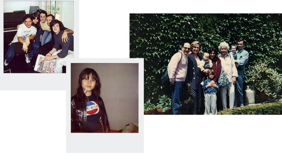 Aos 16, com a turma da Royal Academy of Dramatic Art, em Londres;  adolescente, durante a temporada londrina;  da esq. a dir., o pai, Doc, Stella Marinho, a mãe, Leila, de mão dada com Bianca aos 5 anos em Sintra