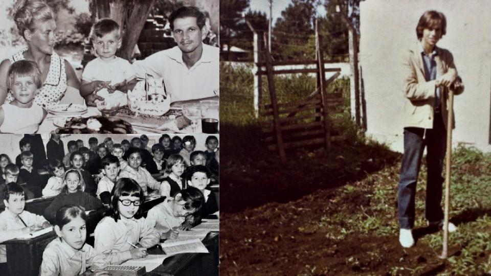 Acima, à esq., no aniversário de 1 ano com a mãe, o pai e a irmã Rose; abaixo, no Colégio São José, em São Leopoldo; ao lado, no colégio jesuíta em Curitiba
