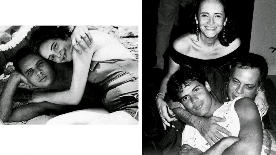 À esq., João e Lucinha, grávida de Cazuza, na praia de Ipanema em 1957. À dir., a família em 1985
