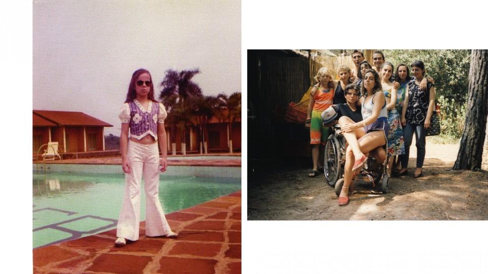 À esq., Mara aos 8 anos, em Foz do Iguaçu (PR); ao lado, em 1989, na Itália, como monitora em um acampamento para pessoas especiais: no colo da tetraplégica, Paula, a quem dedicava todos os cuidados