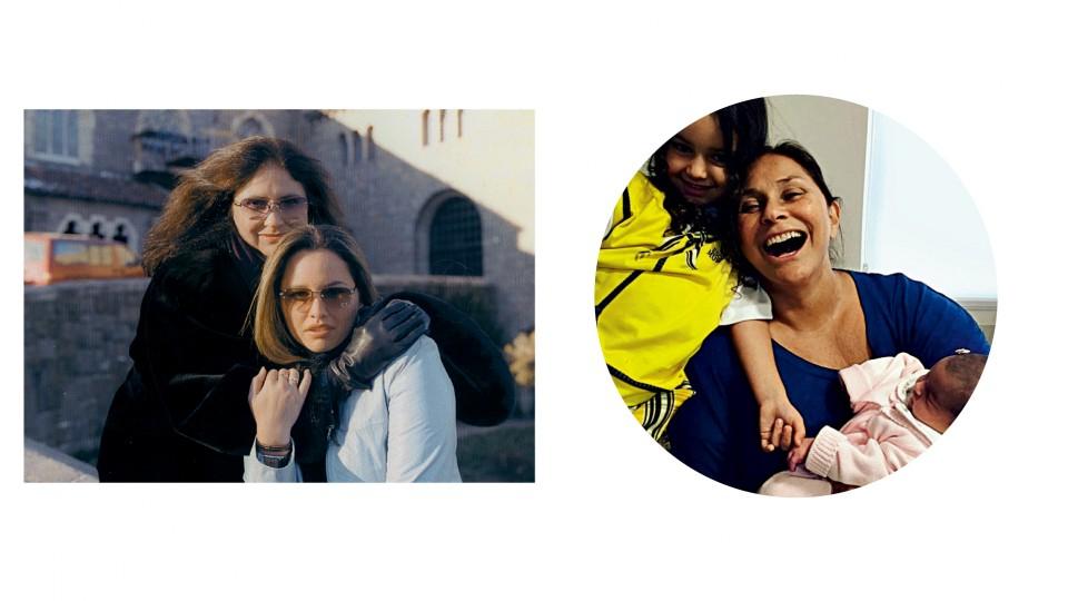 Com a filha em Nova York nos anos 2000;  e com as netas, Laura e Julia