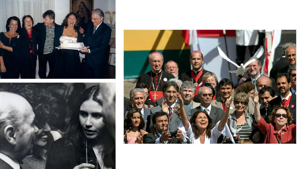 Ao lado, no aniversário de 50 anos com Fernando Henrique, Ruth Cardoso e amigos (2006). Abaixo, com Ruth Escobar e Tancredo Neves em 1985
