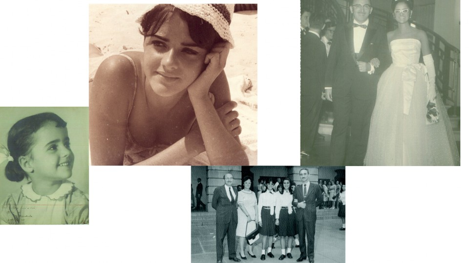 Da esq. para a dir., aos 5 anos; adolescente, estatelada ao sol na praia de Ipanema; em 1965, com os pais e uma amiga no pátio do Instituto de Educação e com o pai em sua festa de formatura