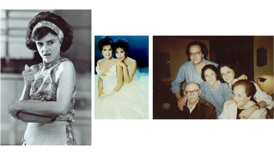 Da esq., para a dir., como a dona Nenê em a Grande Família; com a melhor amiga, Andréa Beltrão, na peça a Dona da História, em 97 e com os pais, o irmão Luíz e a irmã Lúcia, em 1996