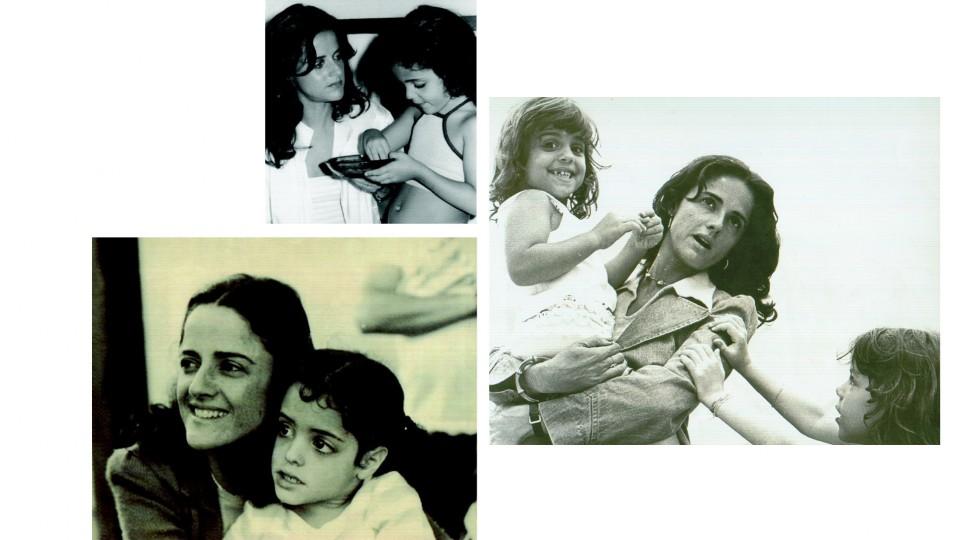 Em sentido horário: com a filha caçula Luísa, 1980; com Helena no colo, em 1974; com a primogênita Silvia, em 1977