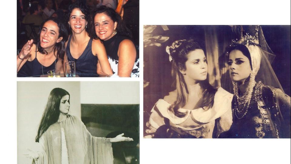 Em sentido horário: com as filhas Sílvia e Luísa em um evento social; com a amiga Leila Diniz na novela Anastácia, a Mulher Proibida, em 1967; e no espetáculo Roda Viva, em 1968