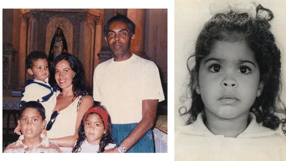 Em 1993, aos 5 anos, com os pais, Flora e Gil, e os irmãos, José (no colo) e Bem. Aos 3 anos; e com 1 ano, em 1989