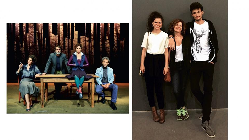 """Com Mariana Lima, Fernando Eiras e Emílio de Mello na peça """"Os realistas"""" e com os filhos, Julia e Hugo"""