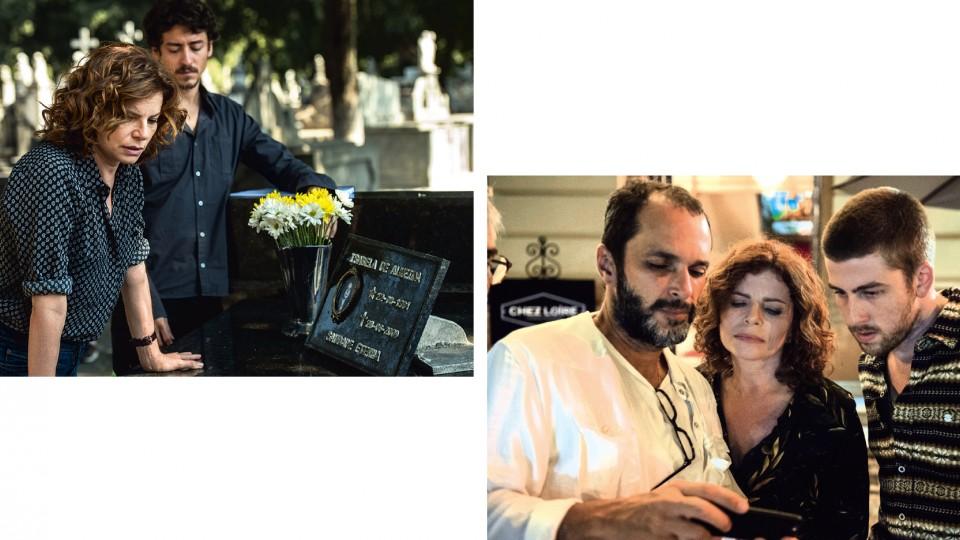 Debora com Jesuíta Barbosa em cena de Justiça e com José Luiz Villamarim (à esq.) e Pedro Nernessian