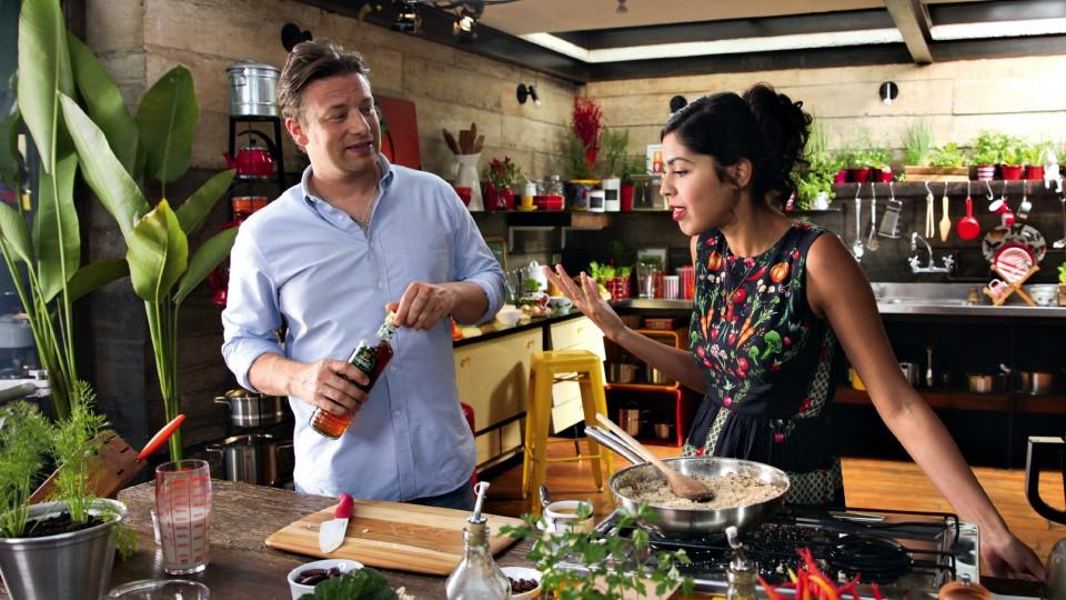 Com o chef Jamie Oliver para o programa Bela cozinha, do GNT em 2015
