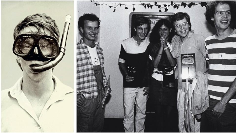 Vestido de aqualouco, em foto do arquivo pessoal; À dir., a turma da produtora Olhar Eletrônico: Tas, Marcelo Machado, Meirelles e Toniko Melo, com a amiga Graça Marques, em 1983