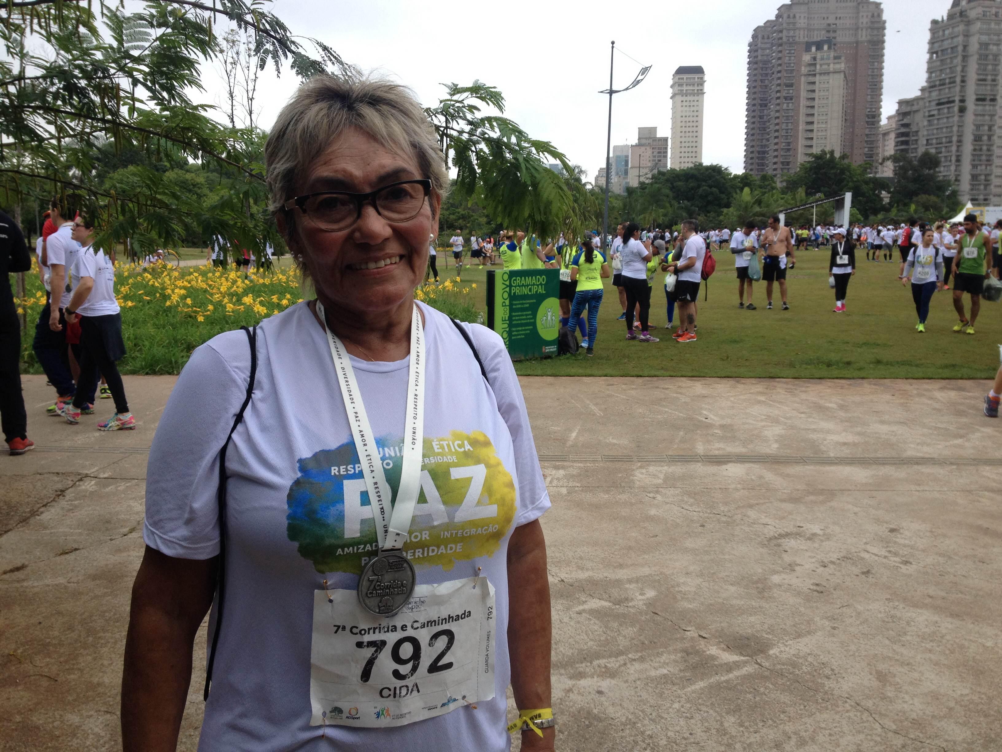 Cida Freitas, de 62 anos, estreou no Caminho da Paz neste domingo