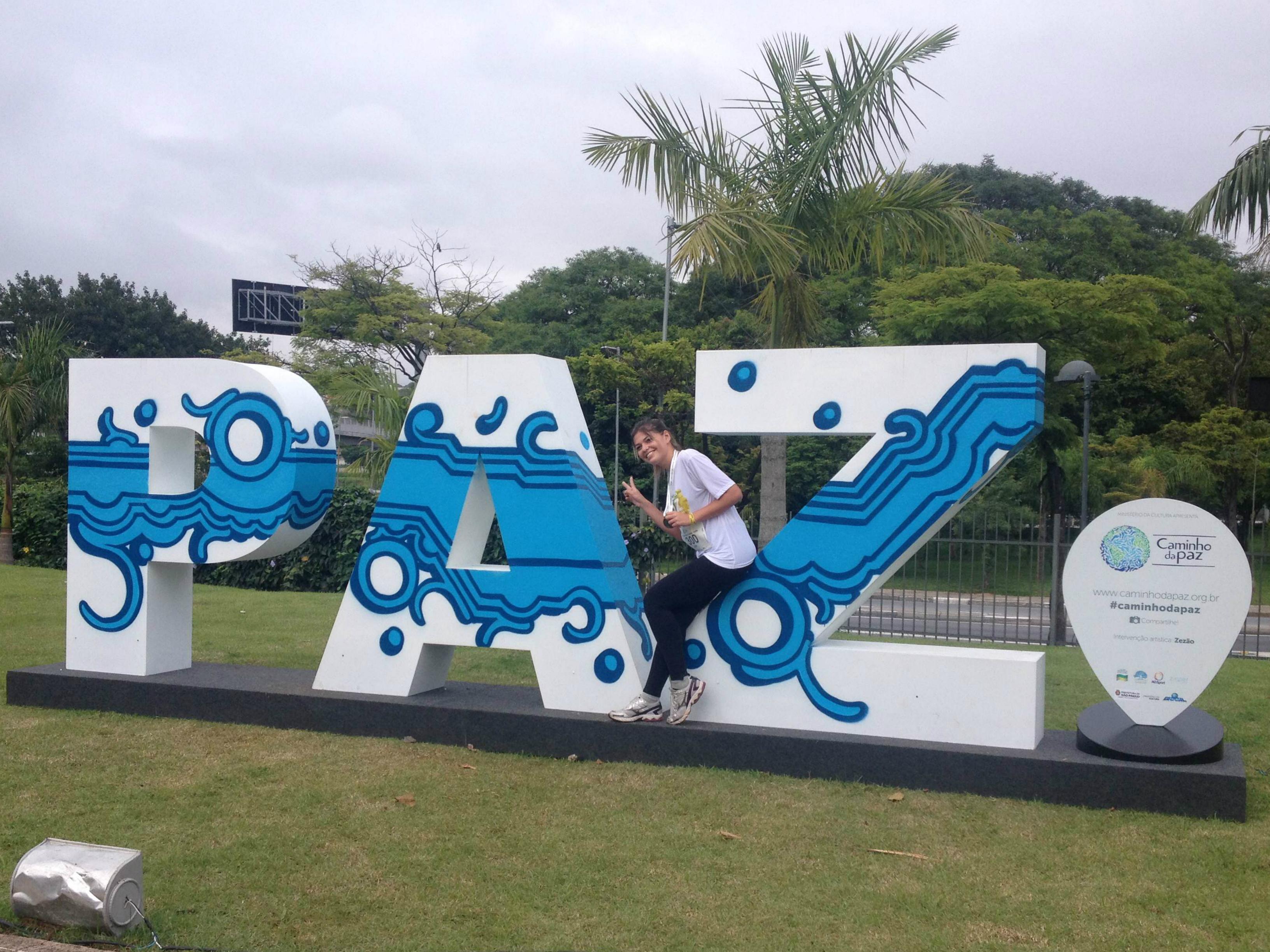 A palavra 'Paz' no Parque do Povo