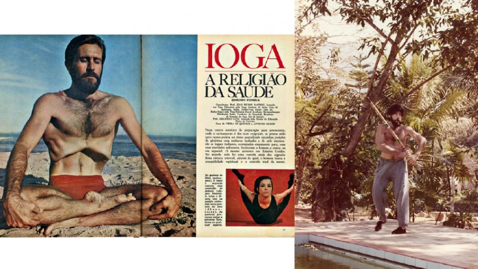 À esq., em 1968, em reportagem na revista Enciclopédia Bloch; à dir., treinando kempô em sua casa de campo, na região serrana do Rio, na década de 70