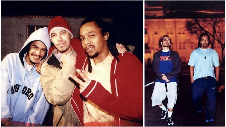 À esq., no auge, com Marcelo D2 e Zé Gonzales durante a turnê do Planet Hemp em Santa Catarnia, em 2000; ao lado, à dir., Black Alien e parça Speed em Niterói