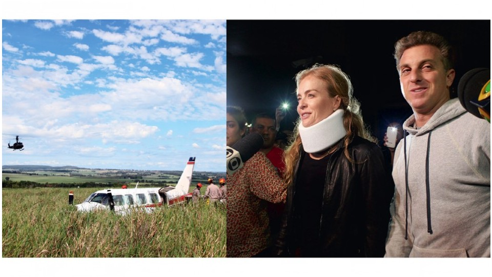 À esq., em maio de 2015, o avião em que viajavam Angélica e a família caiu no Mato Grosso do Sul; À dir., Luciano e Angélica recebem alta do Hospital Albert Einstein, no dia seguinte ao acidente
