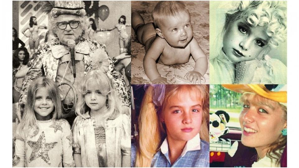 À esq., Angélica no concurso de beleza infantil do Chacrinha, aos 5 anos; ao lado, aos 6 meses; No começo da carreira; abaixo, à esq., em campanha publicitária e aos 16 anos