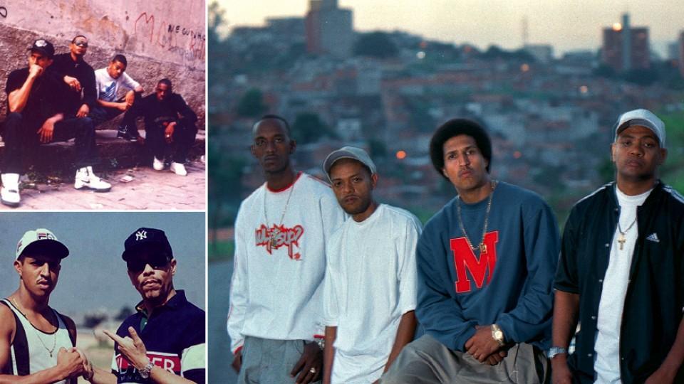 No início do Racionais, em 1989; com o cabelo black power, com Ice Blue, KL Jay e Edi Rock, em 2001; com Ice T, no Capão Redondo, em 1995