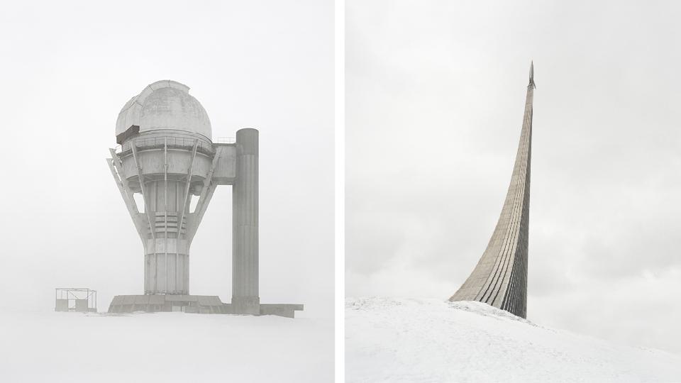 À esq., observatório abandonado no deserto de gelo; à dir., monumento para estremecer o mundo, modelada a partir do foguete alemão V2
