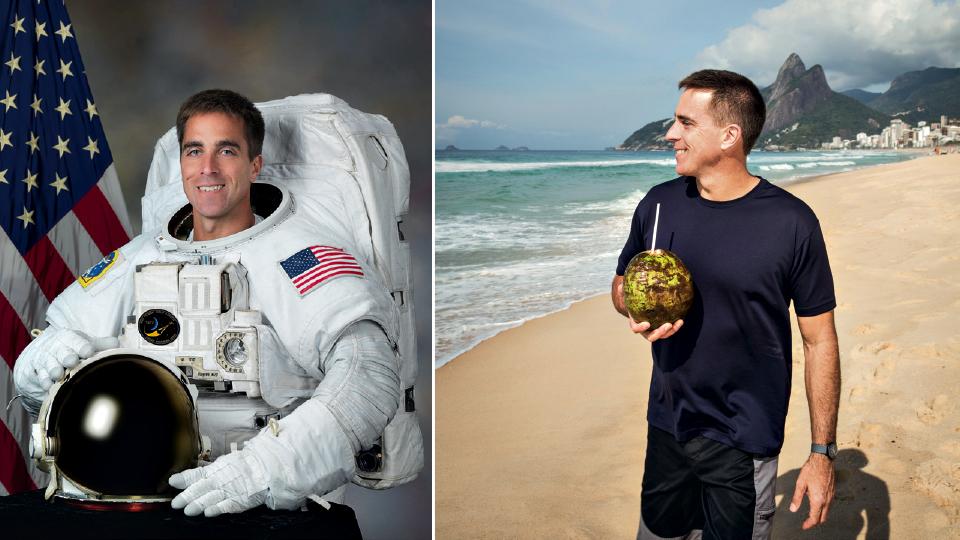 Cassidy na foto oficial de astronauta e curtindo uma praia
