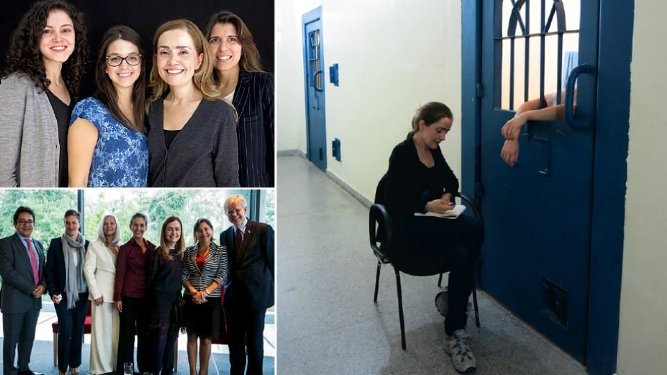 Com parte da equipe atual da Anis: Sinara Gumieri, Maria Cristine Lindoso e Natália Vilarins, em 2016; falando sobre zika em Washington, em 2016; lendo para detentas em Brasília, em 2015