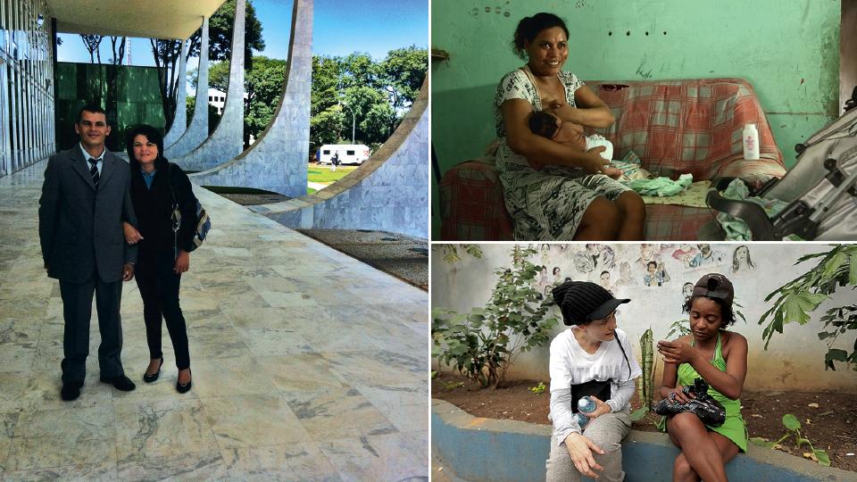 Rosivaldo e Severina, personagens de Uma história Severina, em Brasília para audiência no STF, em 2012; cena do documentário Zika, filmado em Campina Grande, em 2016; com Angélica, personagem do documentário Hotel Laide, de 2005, filmado na Cracolândia