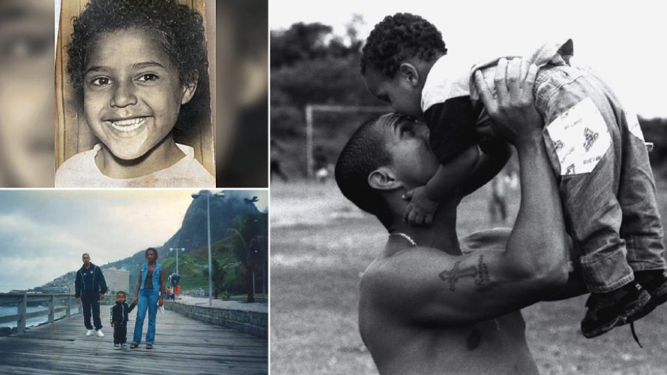 Mini Brown, aos 5 anos; com o filho, Jorge, no Capão Redondo em 1997; a família em Santos, no mesmo ano