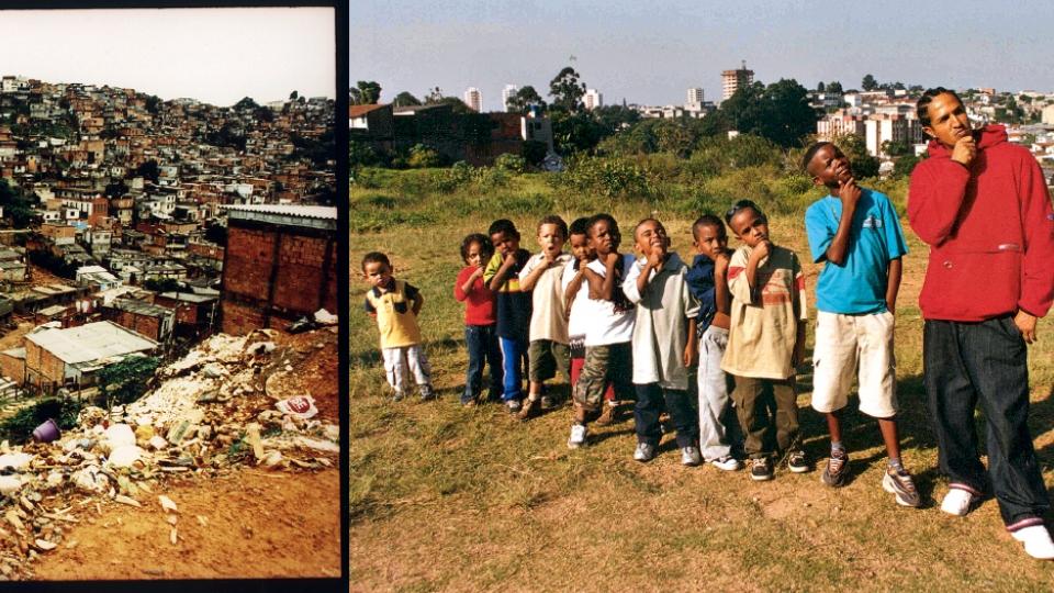 Vista do Capão Redondo, em 2001; com meninos da comunidade, em 2002
