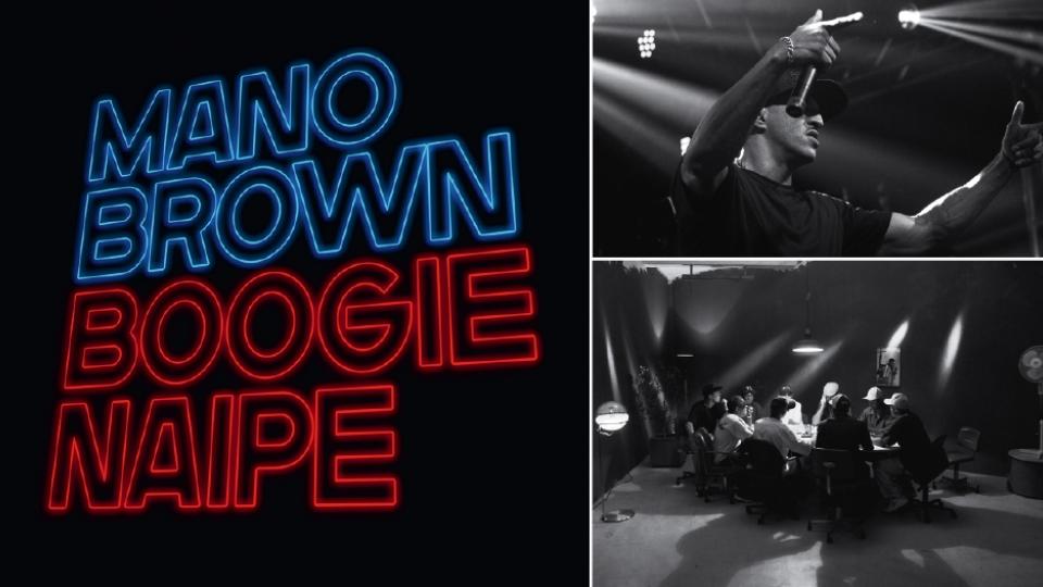 Capa do disco solo Boogie Naipe (2016); em show no Carioca Club, em 2014; carteado do Racionais nos anos 90