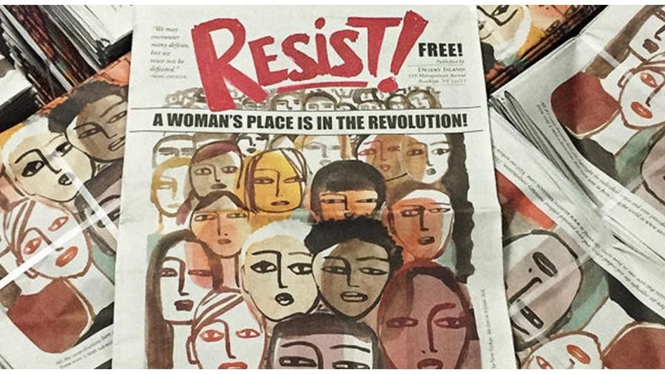 """A arte da capa, para Gayle Kabaker, representa mulheres """"determinadas. Furiosas, mas esperançosas. Corajosas. Fortes. Unidas"""""""