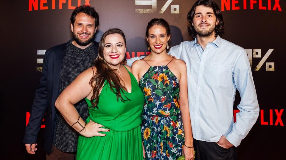 Dani, de verde, com Jotaga Crema, Daina Giannecchini e Pedro Aguilera no lançamento de 3%