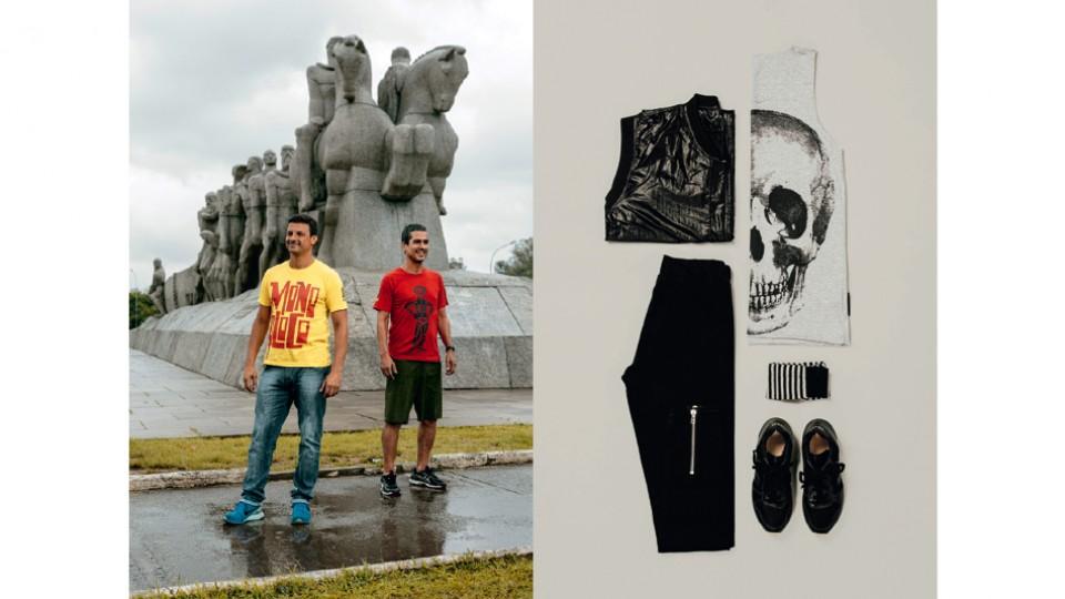 C.a. e Celso. Camiseta Renner R$ 89,90 / Colete Ratier R$ 495 / Calça Coca-Cola Jeans R$ 369 / Meia C&A R$ 39,90 / Tênis Vert R$ 360