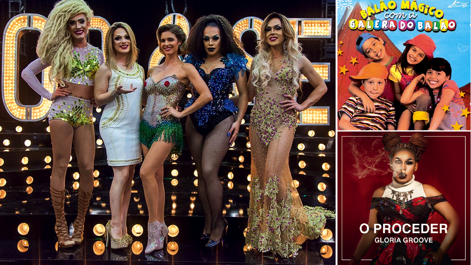 De azul, com Fernanda Lima no programa Amor & sexo em 2016; nas capas dos discos Galera do Balão, de 2002, e O proceder, que acaba de ser lançado