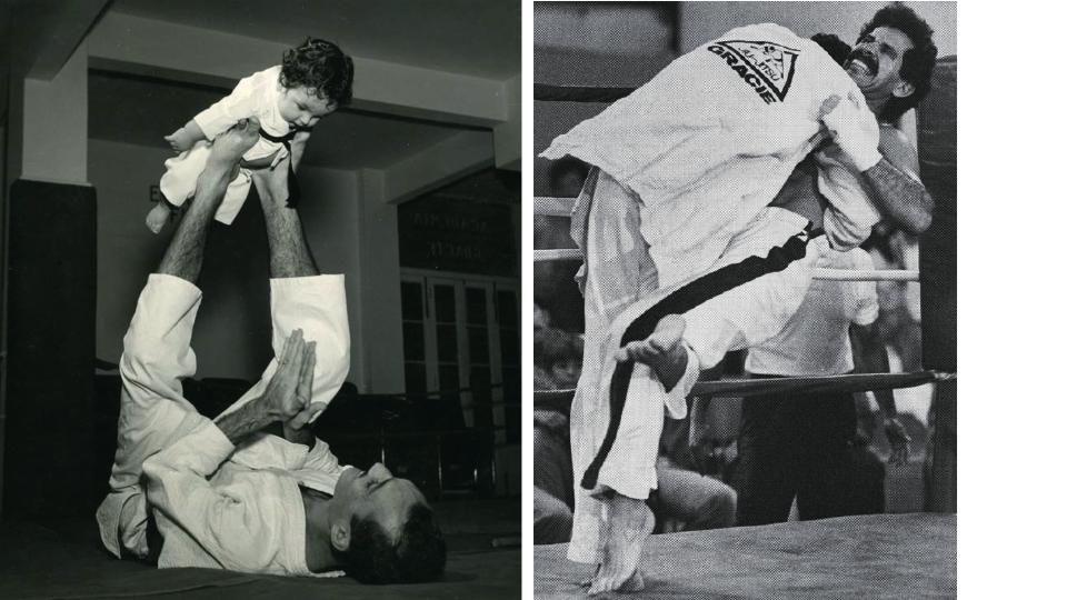 O pequeno Rorion e seu pai, Helio Gracie, em 1952. Rorion derruba o campeão de kick-boxing Ralph Alegria.