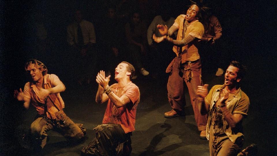 Com Gustavo Falcão, Lázaro Ramos e Wagner Moura na peça A Máquina, em 2000