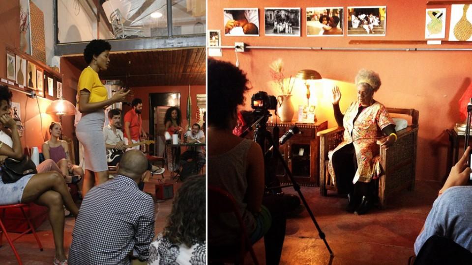 À esquerda, a cantora e compositora Luedji Luna. À direita, cineastas negras dialogam com a escritora Conceição Evaristo