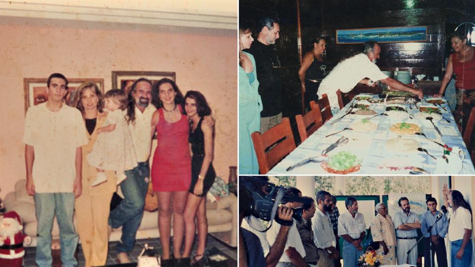 À esq., com a mulher, Ana Cláudia, e quatro de seus nove filhos; à dir., apresentando os pratos do Festival Gastronômico na década de 90; abaixo, com membros do Conselho Distrital, do qual participou por seis anos
