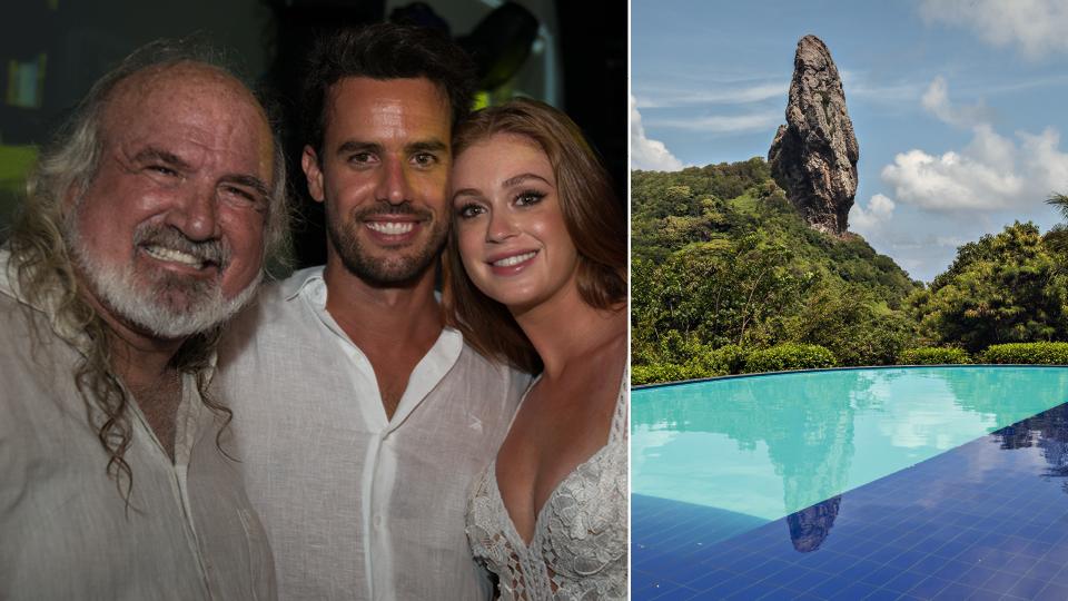 Zé Maria no Réveillon deste ano, com Marina Ruy Barbosa e Xandinho Negrão; à dir., a piscina com vista para o Morro do Pico