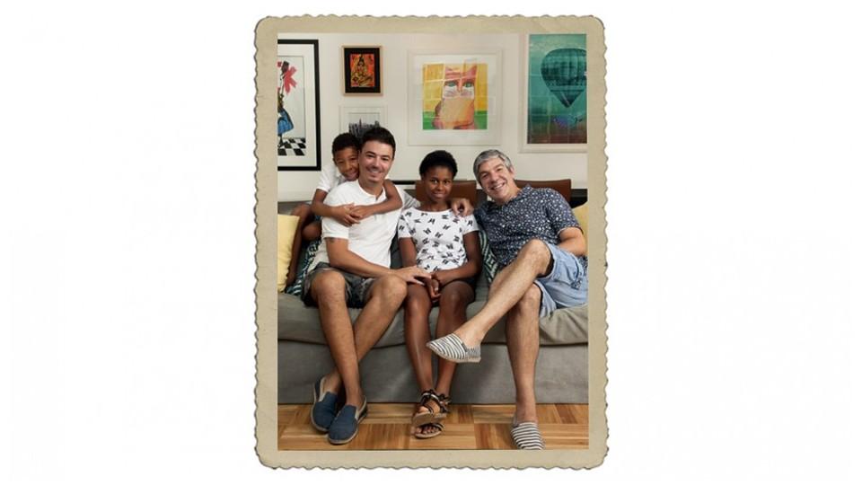 Família unida: Paulo Henrique, Rodrigo, Rafaela e Gilberto