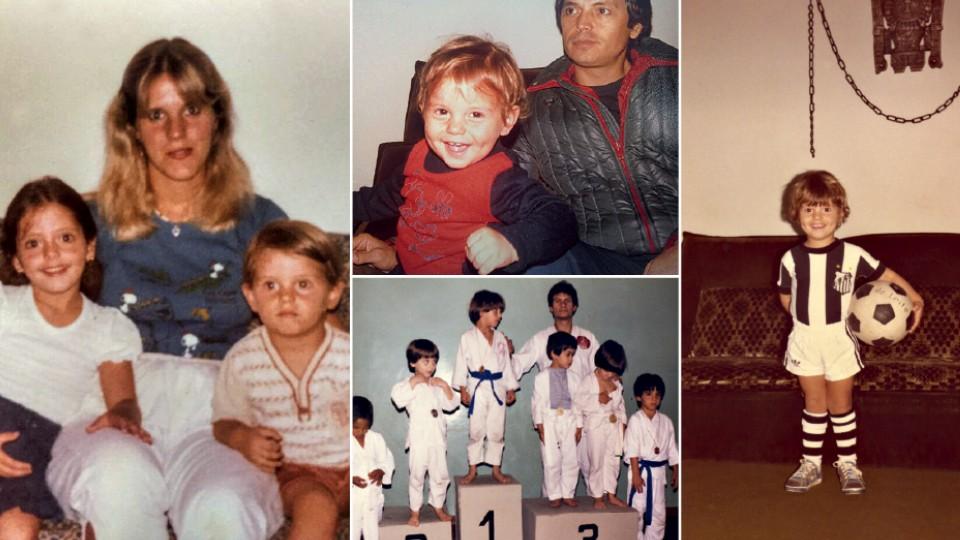 À esq., com a mãe, Fernanda, e a irmã Camila; ao centro, acima, no colo do pai, Mauro; abaixo, campeão de judô, aos 6 anos; à dir., aos 4 anos, dono da bola