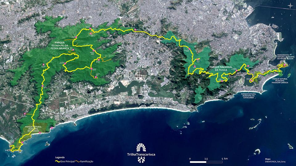 Mapa compledo da Trilha Transcarioca