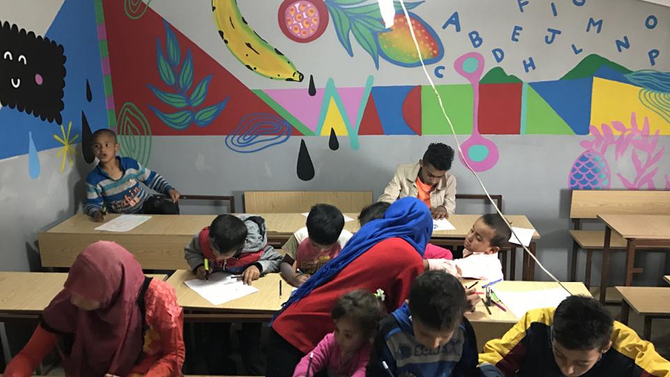 Escola pintada no Líbano