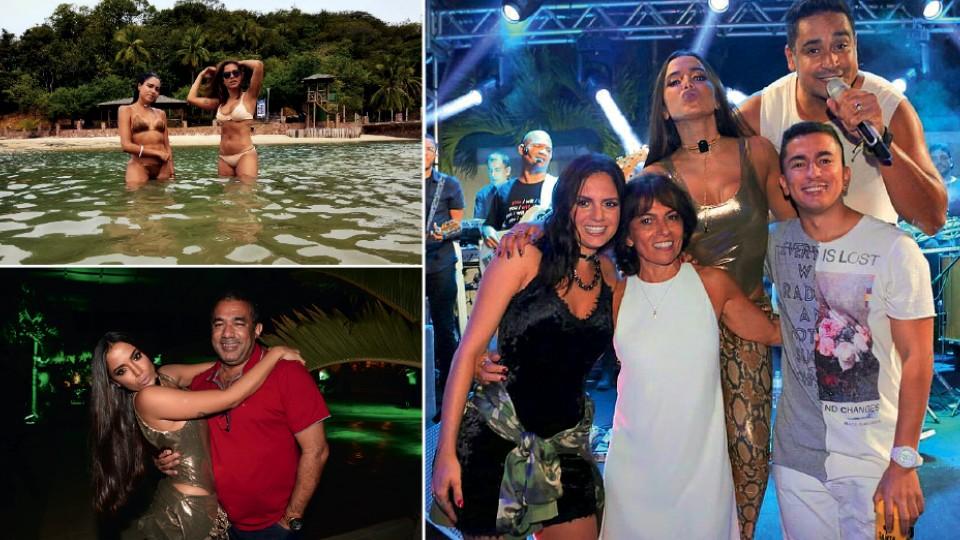 À esq., acima, na Bahia com a amiga Marina Morena, em 2016; abaixo, com o pai, Mauro, na festa de 24 anos; à dir., com a mãe, Miriam, o irmão, Renan, e sua namorada, Jeniffere o música Xanddy, na Bahia