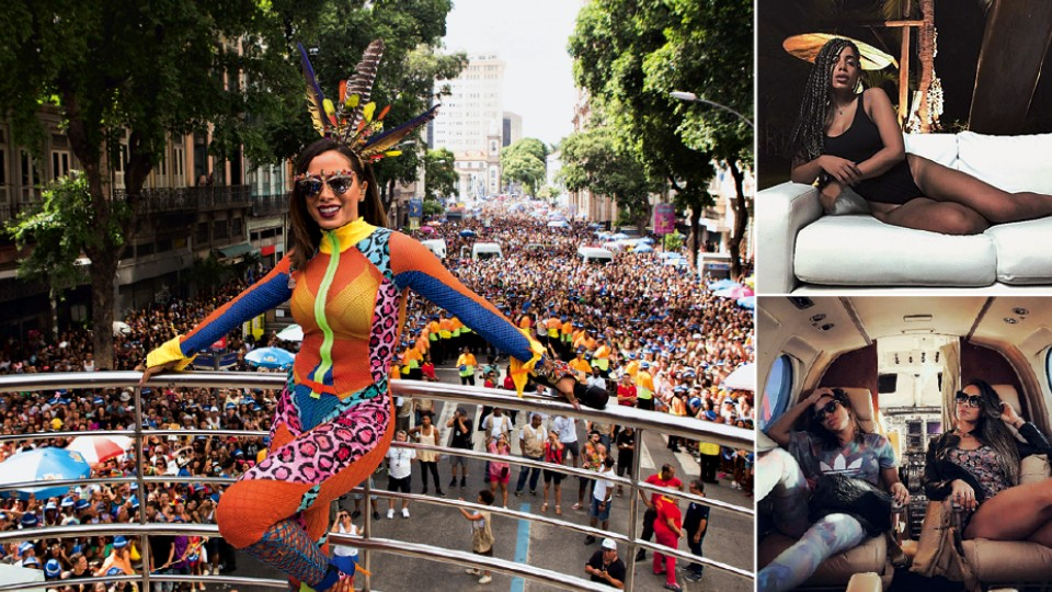 À esq., no Bloco das Poderosas, no Carnaval do Rio deste ano; à dir., acima, foto que causou polêmica por conta das tranças; abaixo, com a life coach Mayra em uma viagem de jato
