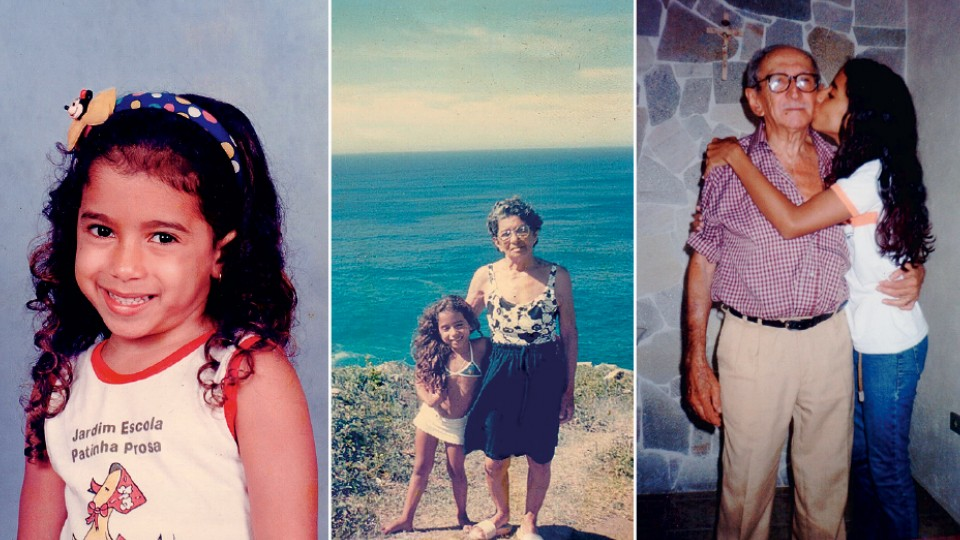 À esq., ainda Larissa, aos 5 anos, na escola; com a avó, Maria Gloriete, aos 6 anos; e com o avô, Pedro Julio, aos 12