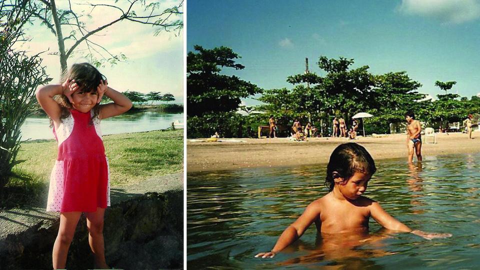 Aos 3 anos, fazendo careta; com a mesma idade, na praia do Pontal, em Paraty