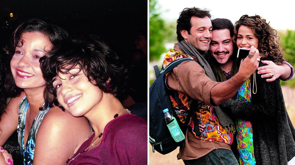 Com a mãe, Patrícia, em 2010; na Capadócia, na Turquia, com os atores Tiago Abravanel (centro) e Domingos Montagner nas gravações da novela Salve Jorge