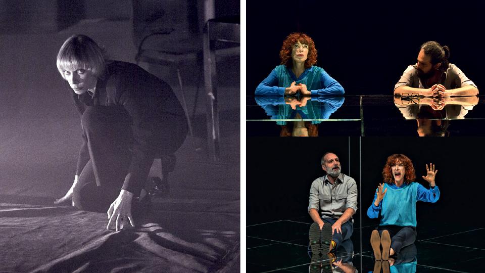 À esq., na peça Esperando Beckett, de Gerald Thomas; à dir., em Constelações, que está em cartaz em São Paulo, com seus dois parceiros de palco: Caco Ciocler e Sérgio Mastropasqua