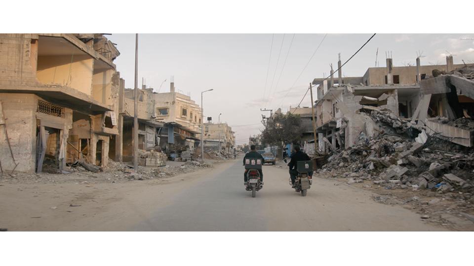 A cidade quase completamente destruida