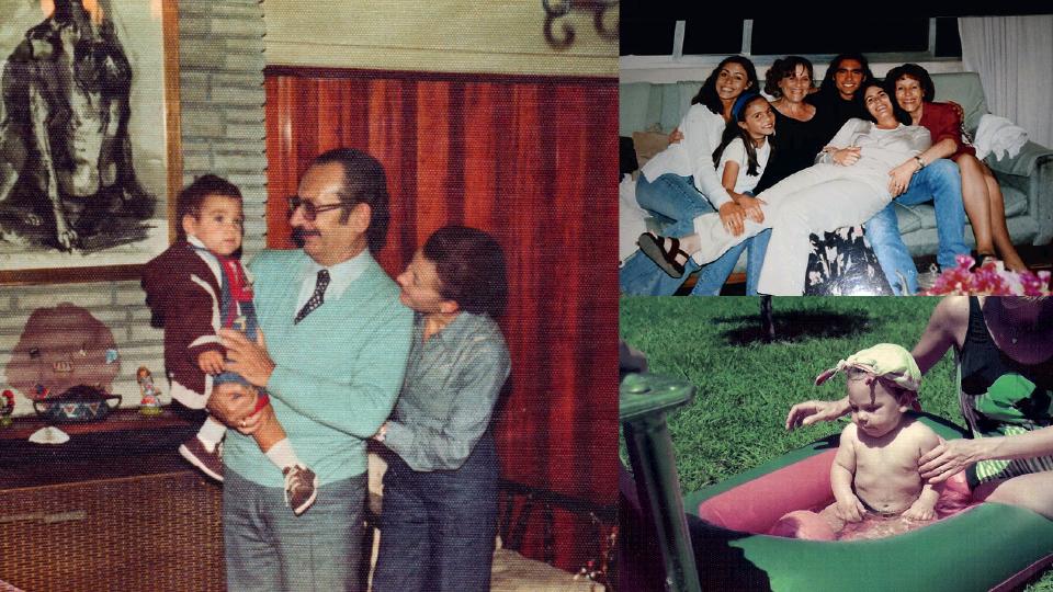Em sentido horário, com os avós paternos, Saúl e Maria; em Mendoza, na Argentina, da esq. para a dir., Sol, sua mulher, Maria José, sua prima, Rut, sua mãe, Vero, sua irmã, e Monica, sua tia; ainda bebê brincando na piscininha com a mãe
